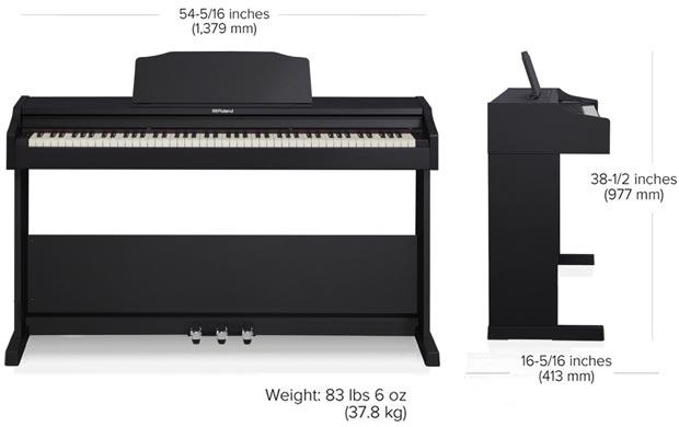 kích thước đàn piano điện roland rp 102