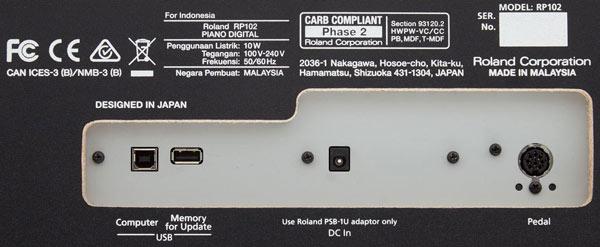 cống kết nối của đàn piano roland rp 102